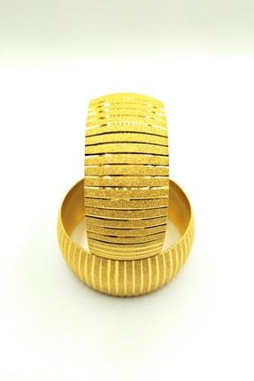 Alzey Gold İmitasyon Altın Kaplama 3cm Çizgi Desen Kadın Bilezik 1