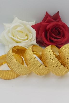 Alzey Gold İmitasyon Altın Kaplama 3cm Çizgi Desen Kadın Bilezik 2