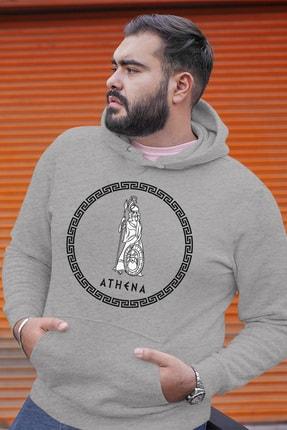 Angemiel Wear Yunan Tanrısı Poseidon Gri Erkek Kapüşonlu Sweatshirt 0