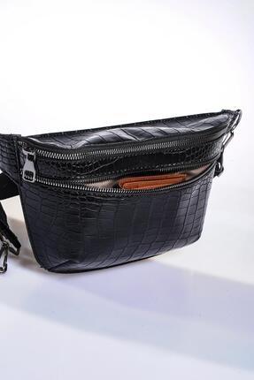 Sergio Giorgianni Kadın Siyah Bel Çantası sg662-kroko siyah 1