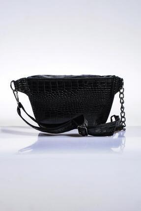 Sergio Giorgianni Kadın Siyah Bel Çantası sg662-kroko siyah 2
