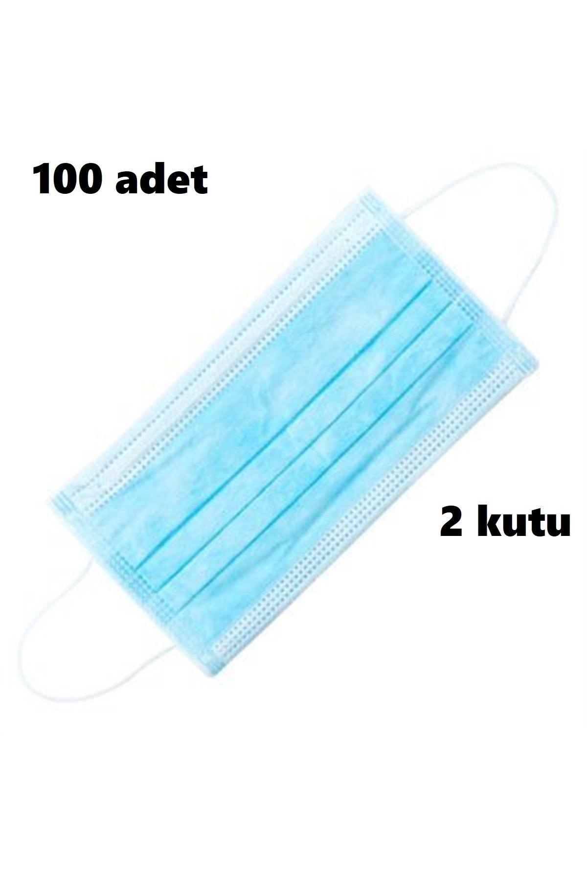 Tek Kullanımlık Lastikli Telli 3 Katlı Cerrahi Koruyucu Yüz Maskesi 50'li 2 Kutu 100 Adet