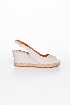 Moda Değirmeni Kadın  Bej Keten Dolgu Topuklu Ayakkabı Md1013-120-0001 1