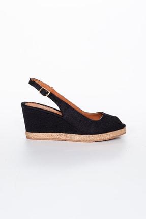 Moda Değirmeni Kadın  Keten Dolgu Topuklu Ayakkabı  Siyah  Md1013-120-0001 1