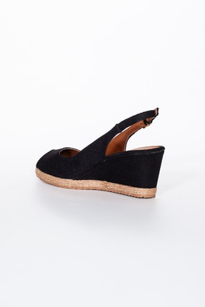 Moda Değirmeni Kadın  Keten Dolgu Topuklu Ayakkabı  Siyah  Md1013-120-0001 3