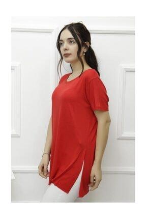 Lukas Kadın Yan Yırtmaçlı Viskon Tişört Kırmızı - 1174.1095. 1