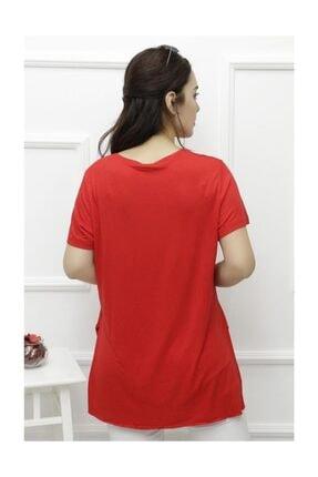 Lukas Kadın Yan Yırtmaçlı Viskon Tişört Kırmızı - 1174.1095. 4