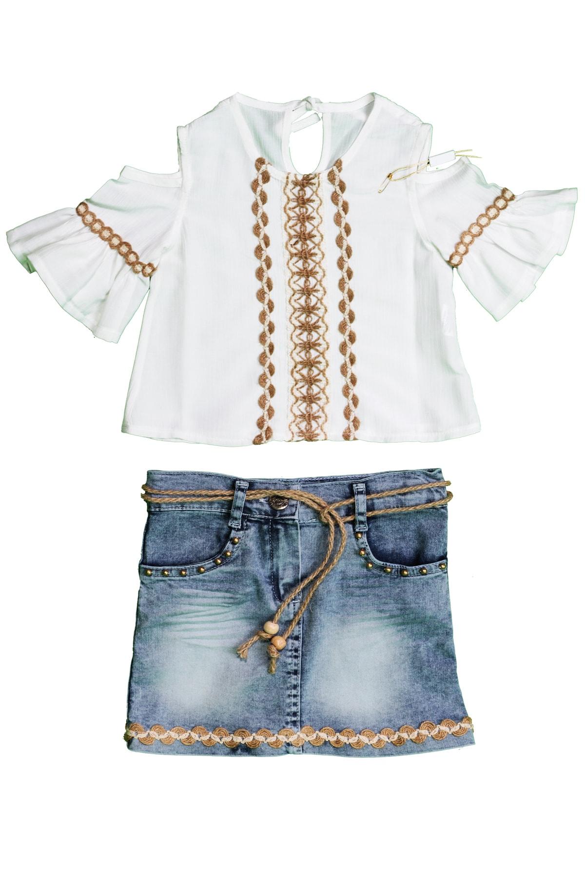 Kız Çocuk Kot Etekli Gömlekli İkili Takım