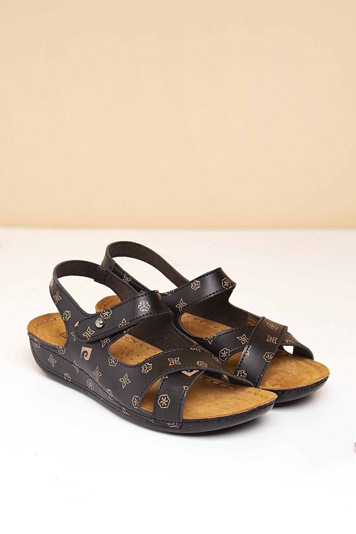 Pc-6172 Siyah-bej Kadın Sandalet
