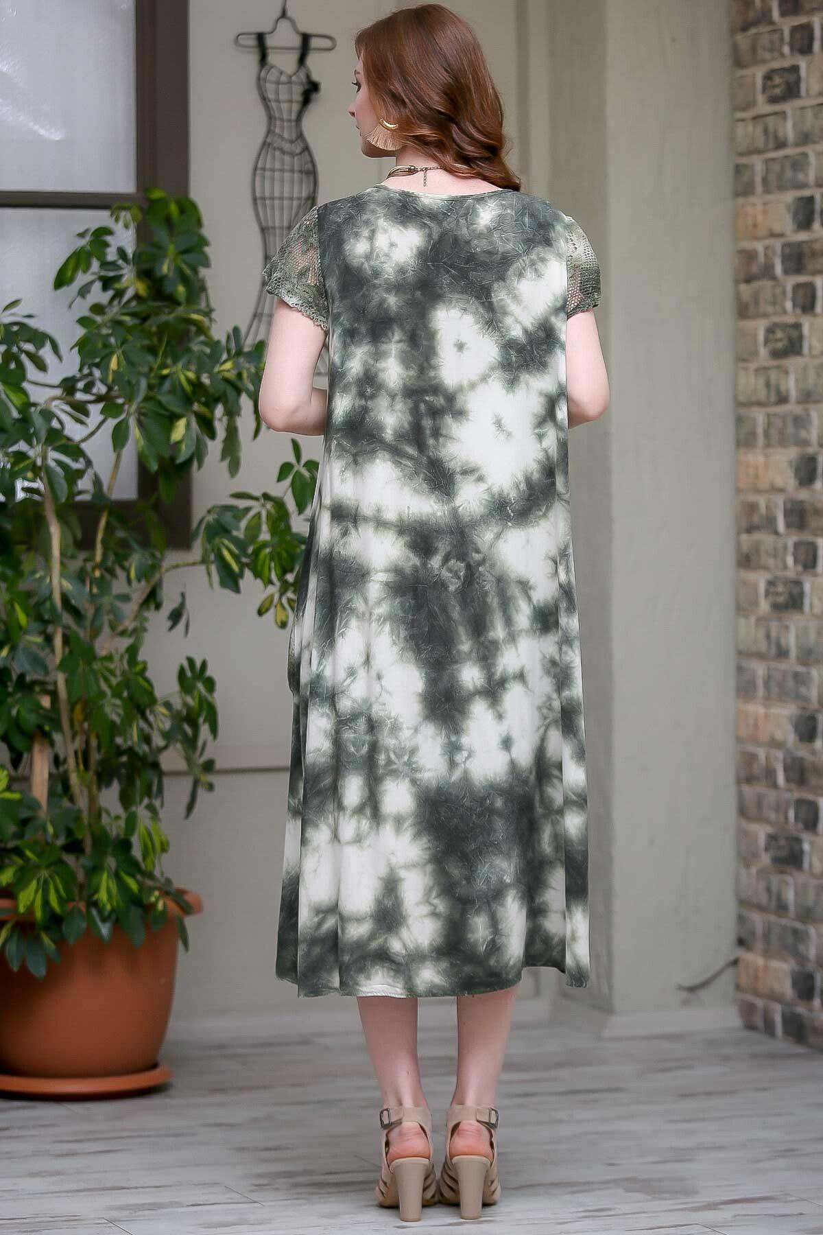 Chiccy Kadın Yeşil Desenli Dantel Kol Ve Cep Detaylı Salaş Yıkamalı Astarlı Dokuma Elbise  M10160000EL97244 4