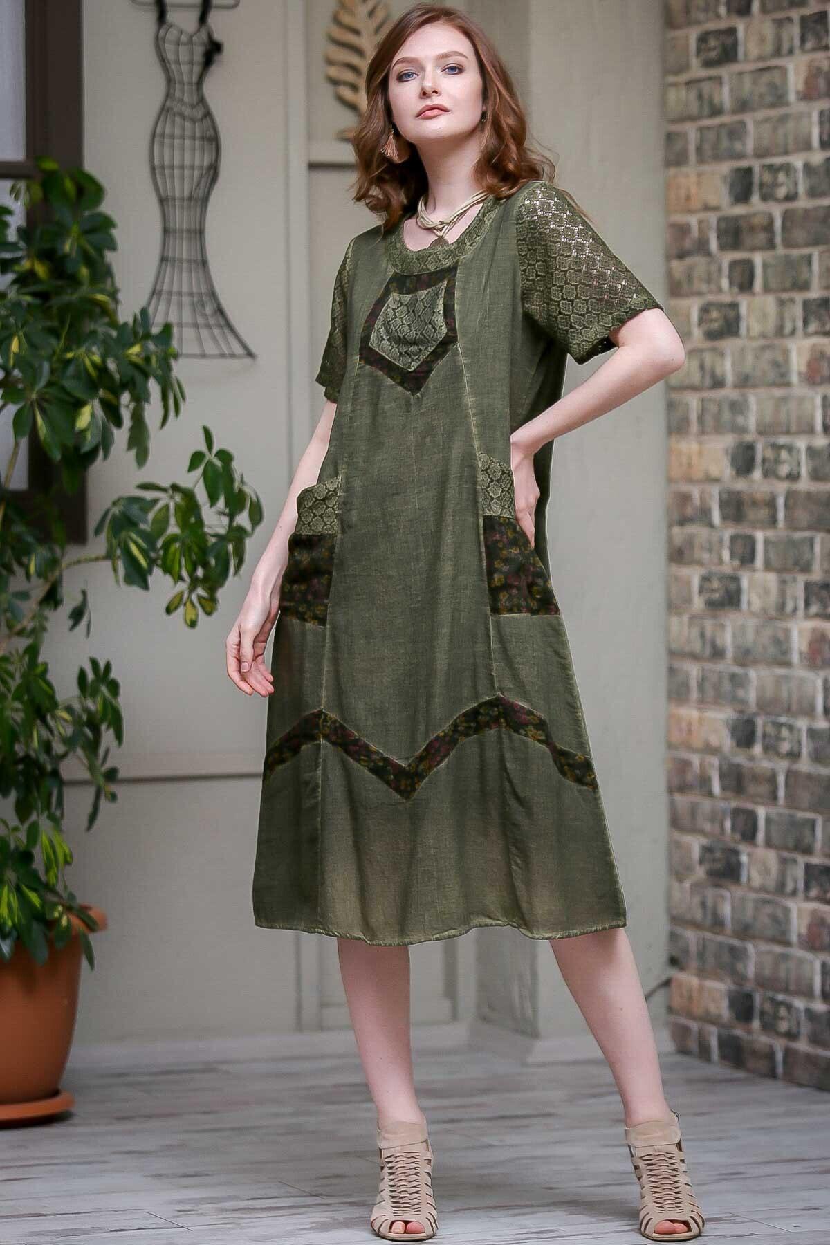 Chiccy Kadın Fuşya Dantel Kol Ve Tülbent Detaylı Cepli Astarlı Yıkamalı Dokuma Elbise  M10160000EL97240 2
