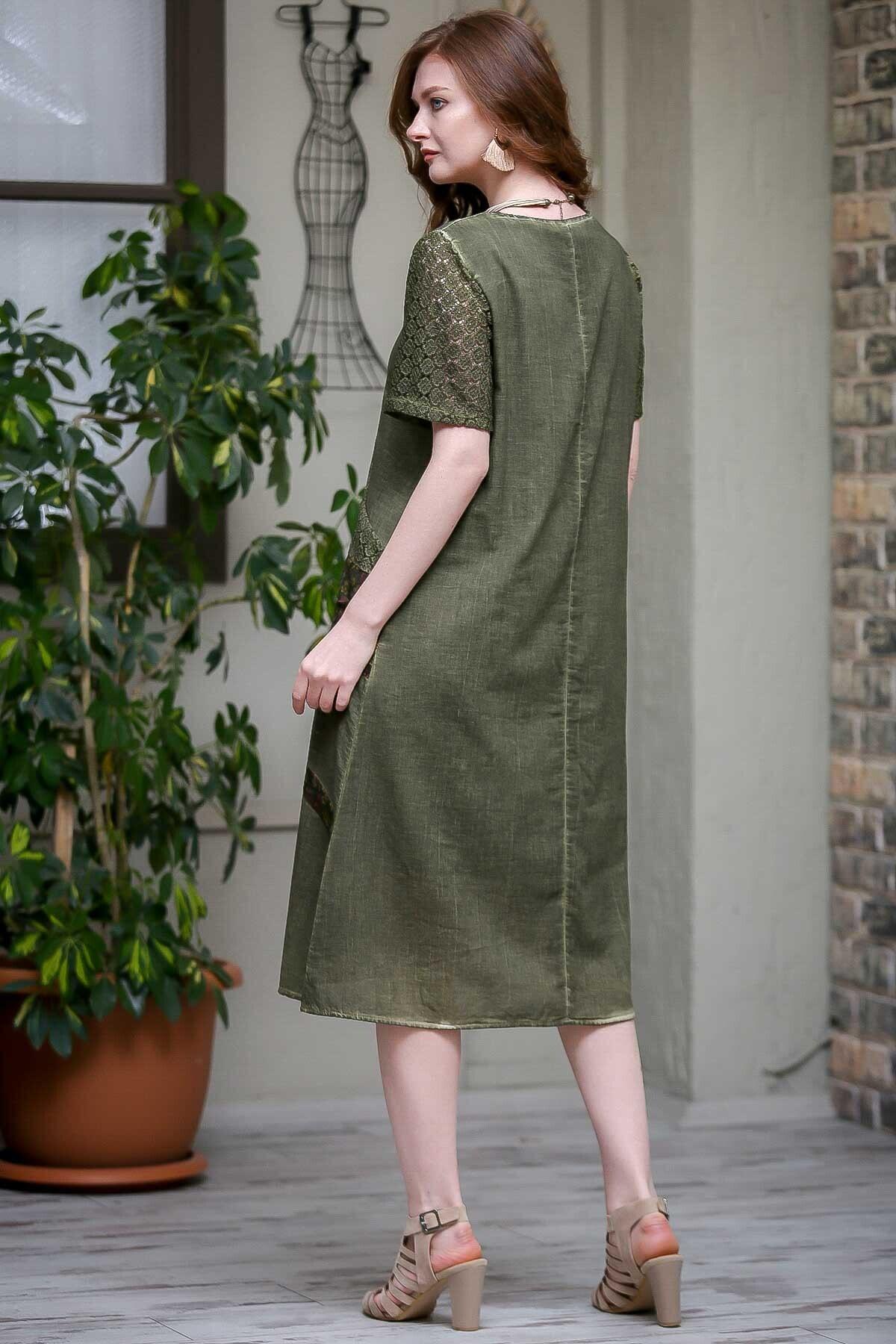 Chiccy Kadın Fuşya Dantel Kol Ve Tülbent Detaylı Cepli Astarlı Yıkamalı Dokuma Elbise  M10160000EL97240 3