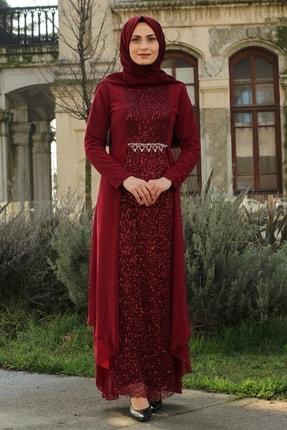 Feiza Collection Kadın Payet Detaylı Tesettür Abiye Elbise - Bordo 1