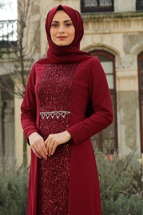 Feiza Collection Kadın Payet Detaylı Tesettür Abiye Elbise - Bordo 2