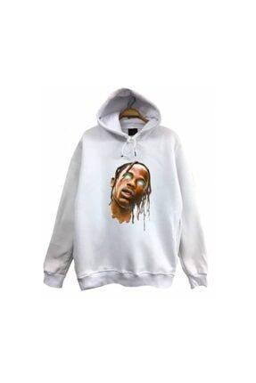 fame-stoned Travis Scott Baskılı Kapüşonlu Sweatshirt 0