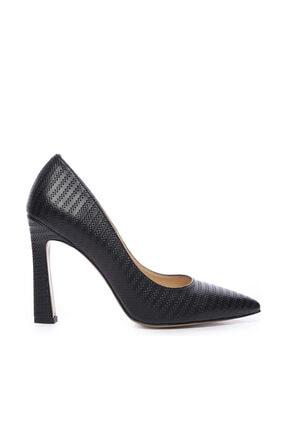 Kemal Tanca Hakiki Deri Siyah Kadın Stiletto Ayakkabı 22 943 BN AYK 0