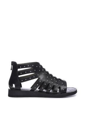 Kemal Tanca Hakiki Deri Siyah Kadın Sandalet Sandalet 649 145 BN SND 0