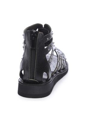 Kemal Tanca Hakiki Deri Siyah Kadın Sandalet Sandalet 649 145 BN SND 2