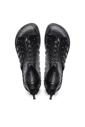 Kemal Tanca Hakiki Deri Siyah Kadın Sandalet Sandalet 649 145 BN SND 3
