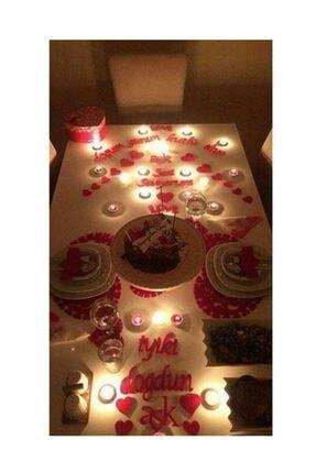 Parti Dolabı 25 Parça Romantik Doğum Günü Masa Süslemesi Kırmızı Keçe Seti 0