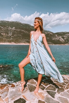 Kadın Batik Mavi Plaj Elbisesi FERAYEBUTİK-5337
