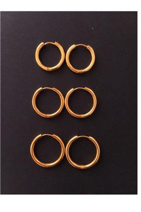 Serpil Jewellery Kadın Gold Rengi Üçlü Sıralı Çelik Halka Küpe 0