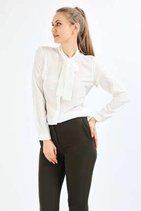 Pera Kadın Beyaz Fular Gömlek 0