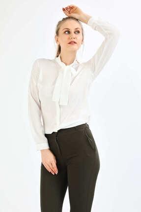 Pera Kadın Beyaz Fular Gömlek 2