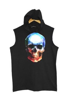 Raf Coll Unisex Baskılı Kapşonlu Kolsuz Siyah T-shirt 1