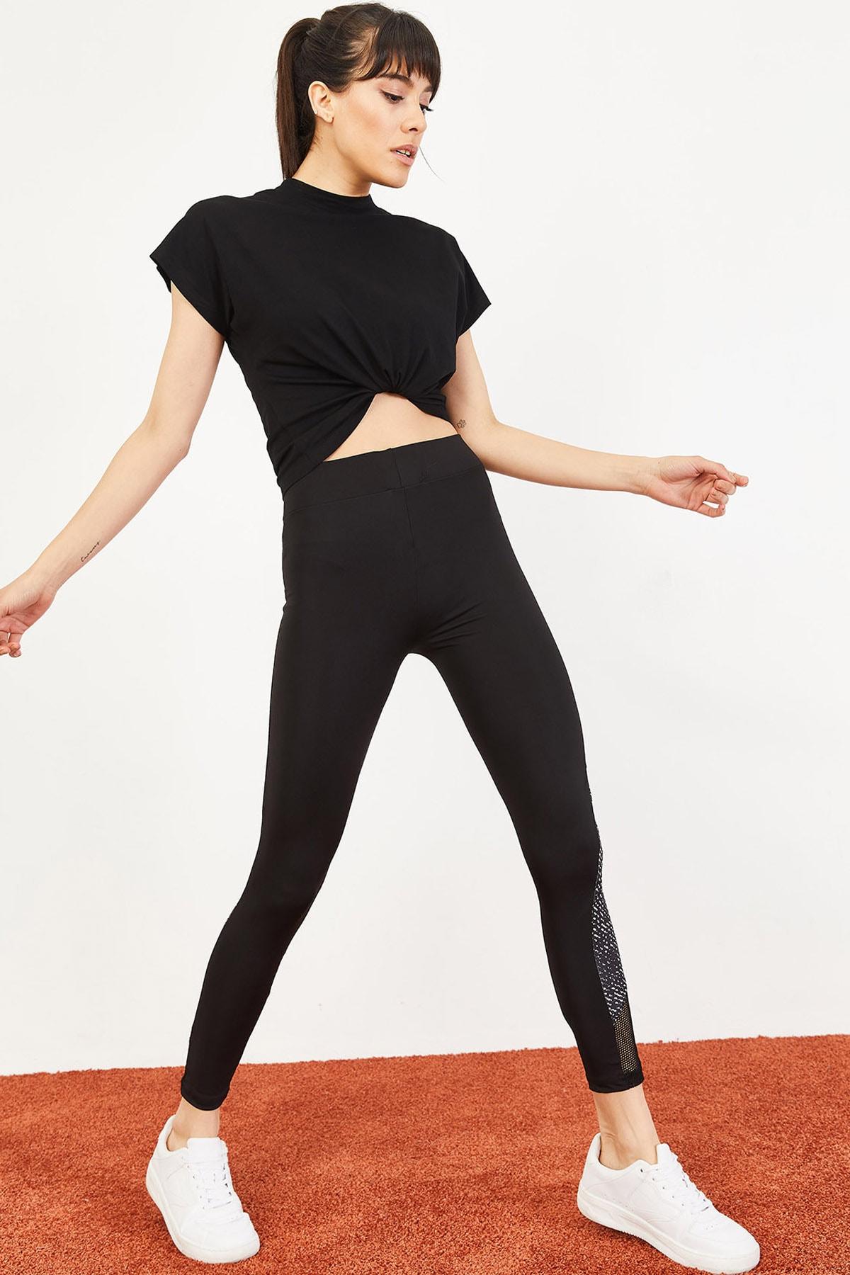 Bianco Lucci Kadın Diz Altı Digital Baskı Çapraz Tül Spor Tayt Siyah 10051056 3