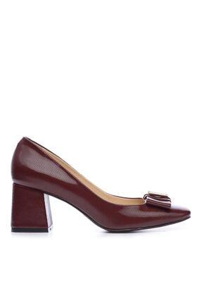 Kemal Tanca Bordo Kadın Vegan Klasik Topuklu Ayakkabı 22 619 BN AYK 0