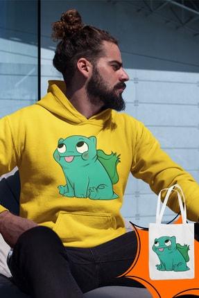 Angemiel Wear Balbazar Pokemon Sarı Erkek Kapüşonlu Sweatshirt Çanta Kombin 0