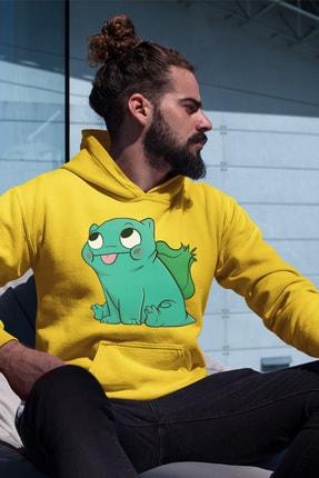 Angemiel Wear Balbazar Pokemon Sarı Erkek Kapüşonlu Sweatshirt Çanta Kombin 1