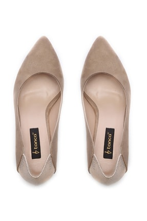 Kemal Tanca Bej Kadın Vegan Klasik Topuklu Ayakkabı 723 001 BN AYK Y19 3