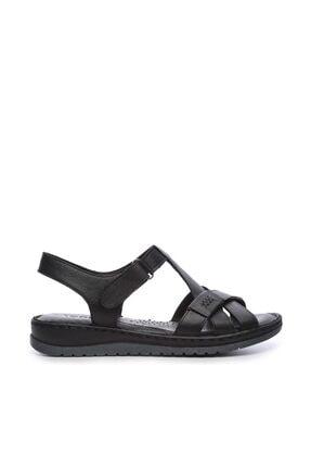 Kemal Tanca Hakiki Deri Siyah Kadın Comfort Sandalet 673 223 BN SNDLT Y19 0