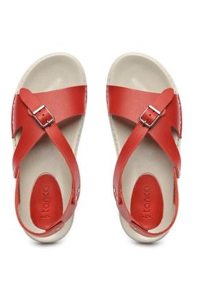 Kemal Tanca Hakiki Deri Kırmızı Kadın Sandalet Sandalet 539 1309 BN SNDLT Y20 3