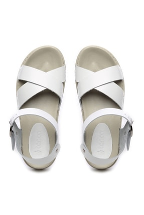 Kemal Tanca Hakiki Deri Beyaz Kadın Sandalet Sandalet 539 1308 BN SNDLT Y20 2