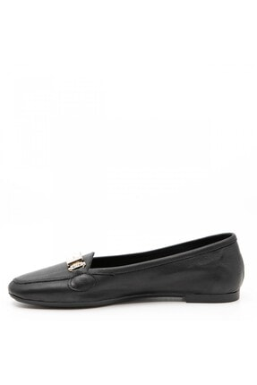 ShoeMaker Siyah Hakiki Deri Taş Toka Detay Kadın Babet 1