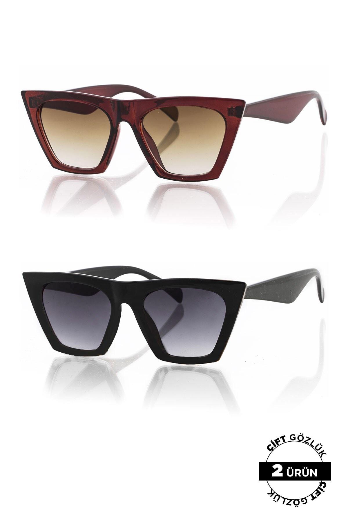 Polo55 PL8045R01R02 Unisex Güneş Gözlüğü 2'li Ürün 0