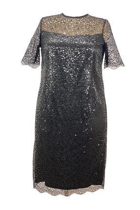 LEFİTAL Kadın Siyah Payet Dantel Astarlı Büyük Beden Abiye Elbise 0