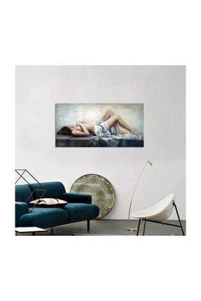 Tablosan Yağlı Boya Uzanan Kadın Nü Kanvas Tablo 50x100 Cm B-19-035 0