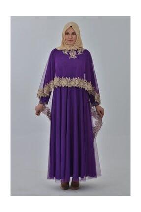 Devri Sultan Boncuk Işlemeli Çıkarılabilir Pelerinli Büyük Beden Tesettür Abiye Mor Elbise 0