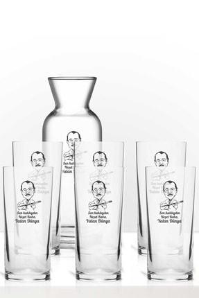 hediye-ci Neşet Ertaş Baba Yalan Dünya Renkli Baskılı Altılı Rakı Bardağı Karaf Kadeh Set 0