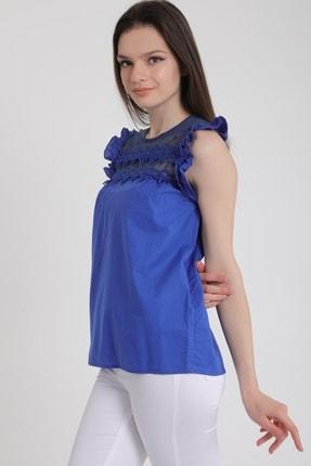 MD trend Kadın Saks Omuz Fırfırlı Sıfır Kol Dantelli Bluz Mdt5464 1
