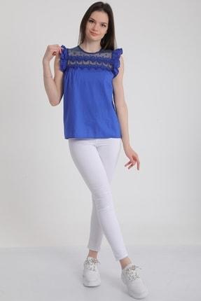 MD trend Kadın Saks Omuz Fırfırlı Sıfır Kol Dantelli Bluz Mdt5464 2