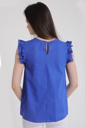 MD trend Kadın Saks Omuz Fırfırlı Sıfır Kol Dantelli Bluz Mdt5464 3