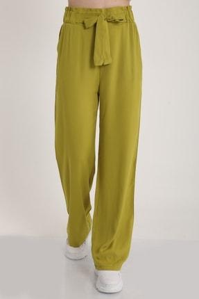 MD trend Kadın Fistik Yeşili Bel Lastikli Kemerli Salaş Pantolon  Mdt5181 1