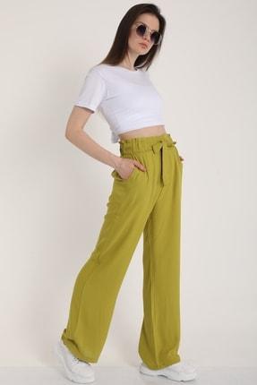 MD trend Kadın Fistik Yeşili Bel Lastikli Kemerli Salaş Pantolon  Mdt5181 2