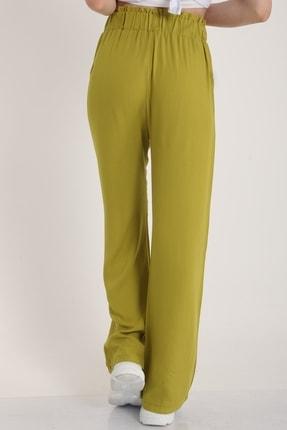 MD trend Kadın Fistik Yeşili Bel Lastikli Kemerli Salaş Pantolon  Mdt5181 3