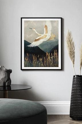 SHY HOME Altın Ve Beyaz Hayallere Giden Kuş Çerçeveli Tablo 0